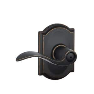 Accent Aged Bronze Privacy Bed/Bath Door Lever with Camelot Trim