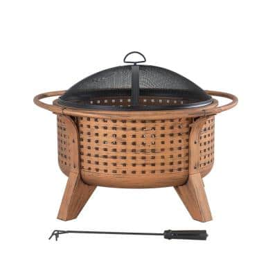 Woven 30 in. Outdoor Round Wood Burning Firepit