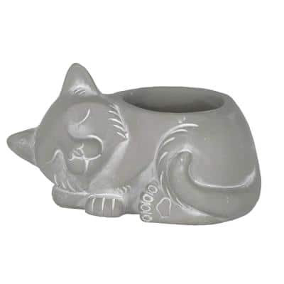 Cement Buddies 6.9 in. Natural Cement Sleeping Cat Planter