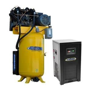 Industrial Plus 80 Gal. 10 HP 1-Phase 2-Stage Silent Air Electric Pressure Lube Air Compressor with 58 CFM Dryer Bundle