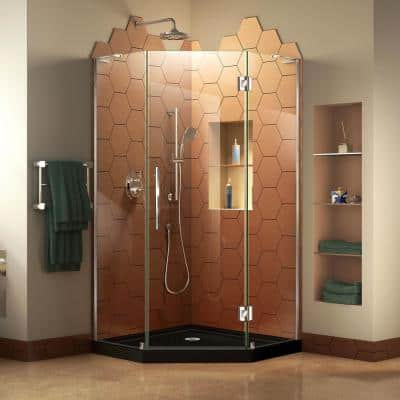 Prism Plus 42 in. x 42 in. x 74.75 in. Semi-Frameless Neo-Angle Hinged Shower Enclosure in Chrome with Black Shower Base