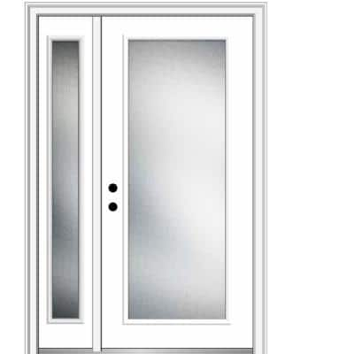53 in. x 81.75 in. Micro Granite Right-Hand Inswing Full Lite Decorative Primed Steel Prehung Front Door w/ One Sidelite