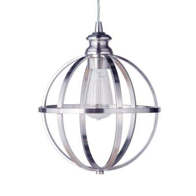 Instant Pendant 1-Light Recessed Light Conversion Kit Brushed Nickel Globe Cage Shade