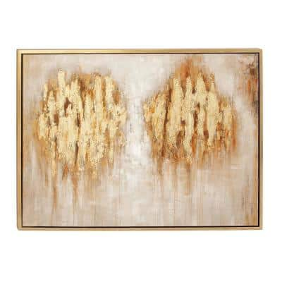 36 in. x 47 in. Abstract Brown Landscape Polystone and Canvas Art