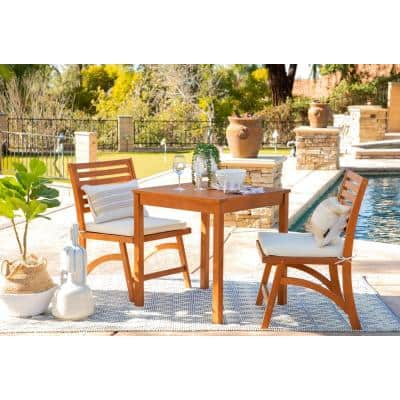 Ariana Natural Brown 3-Piece Wood Square Outdoor Bistro Set with Cream Cushions