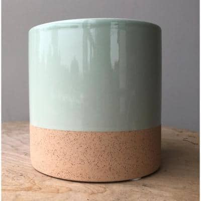 Stoneware 4 in. Clearly Aqua Ceramic Nidos Cylinder Planter