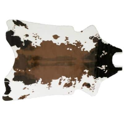 Brown and White 68 in. x 50 in. Alecia Faux Cowhide Area Rug