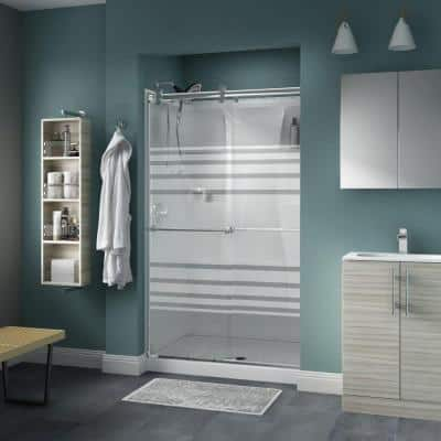 Lyndall 48 x 71 in. Frameless Contemporary Sliding Shower Door in Chrome with Transition Glass