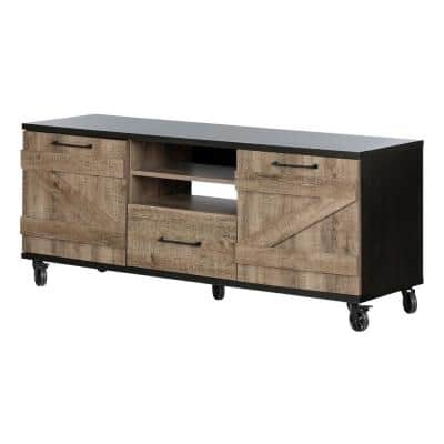 Valet 57 in. Weathered Oak and Ebony Particle Board TV Stand 70 in. with Doors