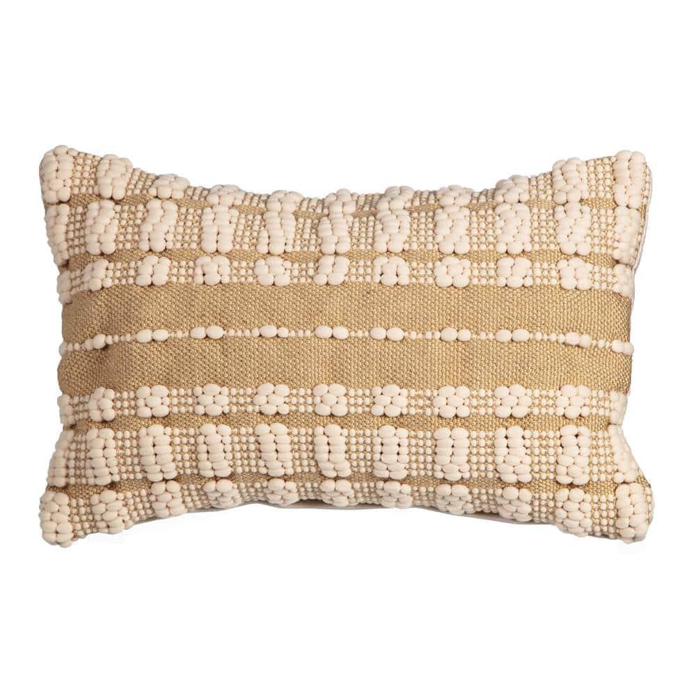 Hampton Bay Dashed Stitch Outdoor Lumbar Throw Pillow (2-Pack)