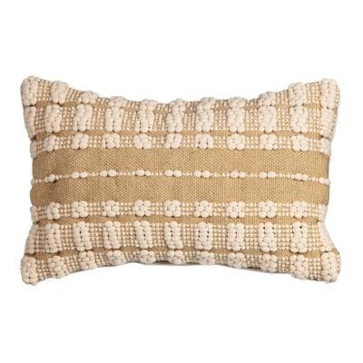 20 in. x 12 in. Dashed Stitch Hand Woven Outdoor Lumbar Throw Pillow (2-Pack)