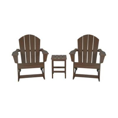 IRIS Outdoor Rocking Poly Adirondack Chair With Side Table Set in Dark Brown (3-Piece)