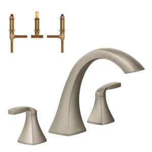 Voss 2-Handle Deck-Mount High Arc Roman Tub Faucet in Brushed Nickel (Valve Included)