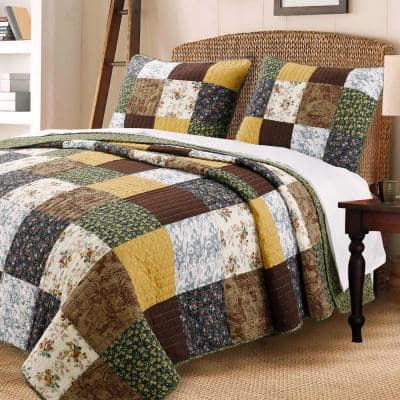 Farmhouse Country Vintage Floral Patchwork 3-Piece Warm Rich Brown Olive Mustard Yellow Cotton Queen Quilt Bedding Set