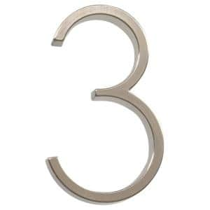5 in. Elevated Satin Nickel Plated Number 3