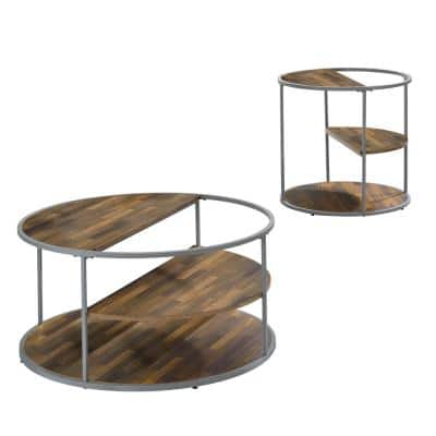 Henvale 35.38 Gray Rectangle Wood Top 2-Piece Coffee Table Set