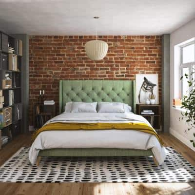 Her Majesty Green Linen Queen Upholstered Bed