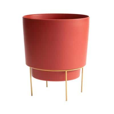 Hopson Small 6 in. Burnt Red Plastic Planter with Metal Gold Stand