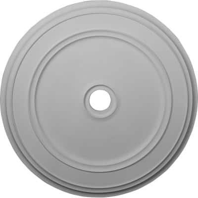 """41-1/8"""" x 4"""" ID x 2-1/8"""" Classic Urethane Ceiling Medallion (Fits Canopies up to 5-1/2""""), Primed White"""