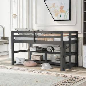 Gray Twin Size Wood Loft Bed with Shelves