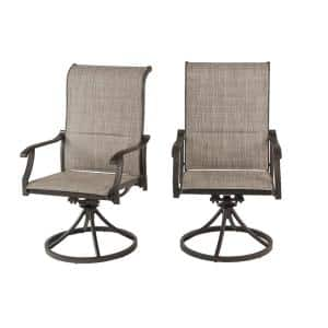Hampton Bay High Garden Black Steel Padded Sling Outdoor Patio Swivel Dining Chairs 2 Pack Gl 18044 Bswvl The Home Depot