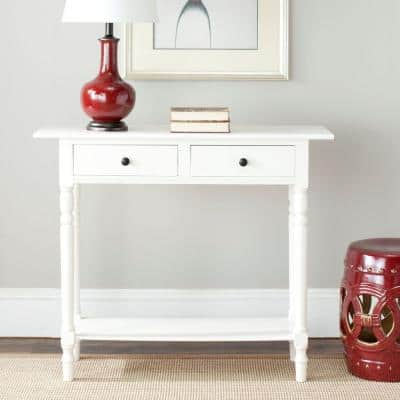 Rosemary 38 in. Distressed Cream Standard Rectangle Wood Console Table with Drawers