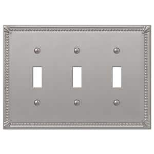 Rhodes 3 Gang Toggle Metal Wall Plate - Brushed Nickel