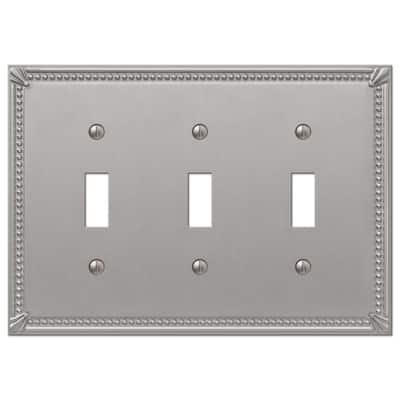Rhodes 3 Gang Toggle Metal Wall Plate - Brushed Nickel