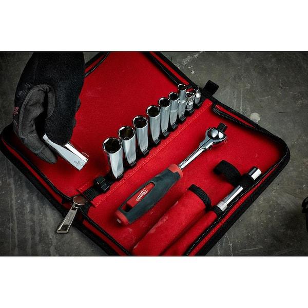 "New Milwaukee 48-22-9001 12 Piece 3//8"" Drive Metric Socket Set Tool Set /& Case"