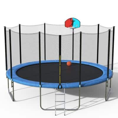15 ft. Round Trampoline with Safety Enclosure Basketball Hoop and Ladder