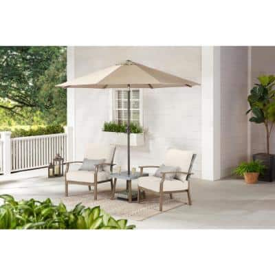 Beachside 3-Piece Rope Look Steel Outdoor Patio Bistro Set with CushionGuard Almond Tan Cushions