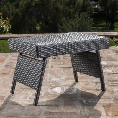 Miller Grey Armless 2-Piece Wicker Outdoor Chaise Lounge and Table Set