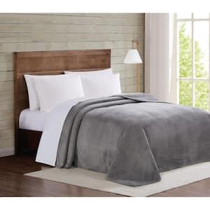Grey Velvet Plush King Blanket