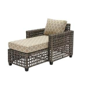 Briar Ridge Brown Wicker Outdoor Patio Chaise Lounge with CushionGuard Toffee Trellis Tan Cushions