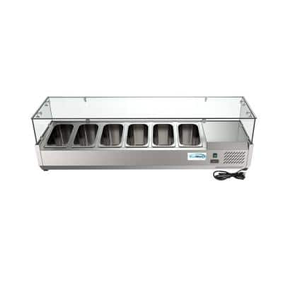 59 in. W 6-Pan 1 cu. ft. Commercial Refrigerator Condiment Prep Station in Stainless Steel