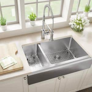 Stainless Steel 32-3/4 in. 30/70 Double Bowl Farmhouse Apron Front Kitchen Sink