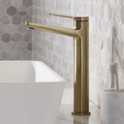Indy Single Hole Single-Handle Bathroom Faucet with Pop-Up Drain in Brushed Gold