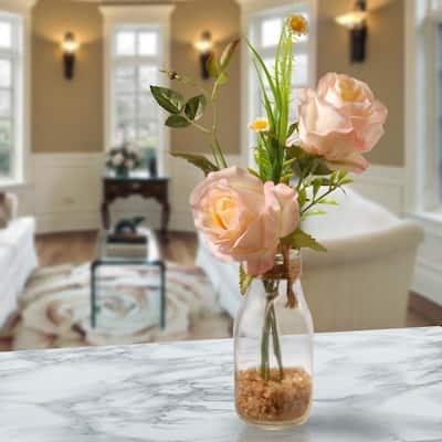 Peach Rose Arrangement in Glass Vase