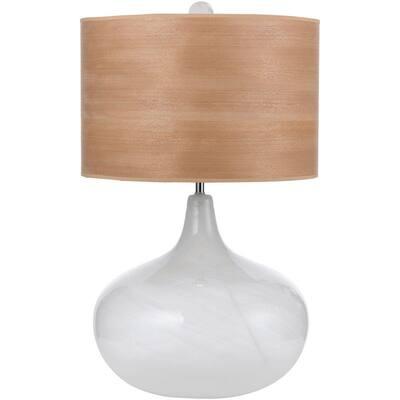 Horizon Playa 27 in. Blown Glass Table Lamp with Wood Veneer Shade