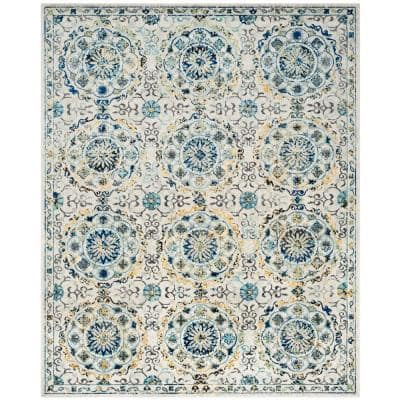 Evoke Ivory/Blue 9 ft. x 12 ft. Floral Border Circles Area Rug