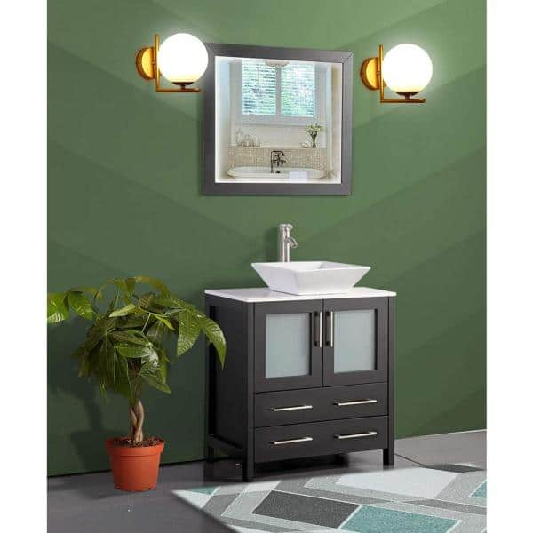 Vanity Art Ravenna 30 In W X 18 5 In D X 36 In H Bathroom Vanity In Espresso With Single Basin Top In White Ceramic And Mirror Va3130e The Home Depot