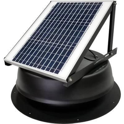 20-Watt 1275 CFM Ultra-Low Profile Black Solar Powered Attic Fan
