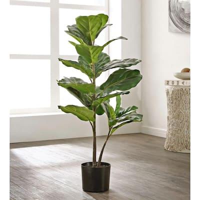 Artificial Ficus Tree 35.8 in. Black Plastic Pot
