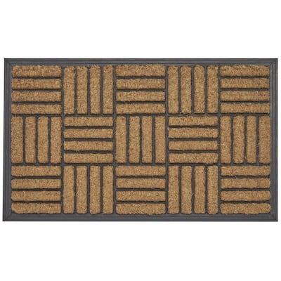 Criss Cross Tan 24 in. x 40 in. Coir Outdoor Door Mat