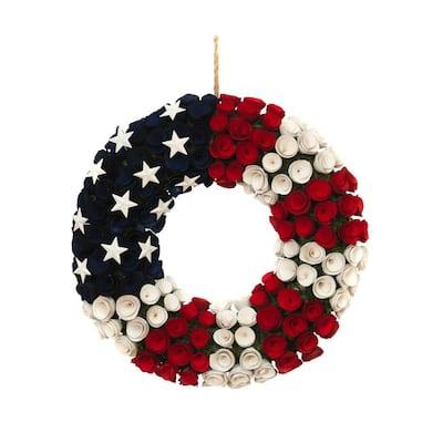 21.5 in. Dia Americana Wood Flower Wreath