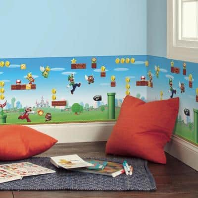 Super Mario Scene Red, Blue and Green Peel and Stick Wallpaper Border