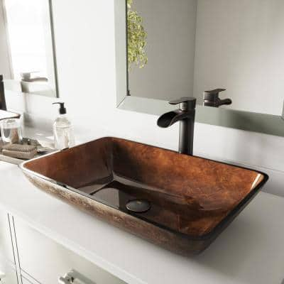 Glass Rectangular Vessel Bathroom Sink in Chocolate Brown with Niko Faucet and Pop-Up Drain in Antique Rubbed Bronze