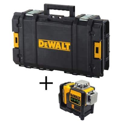 12-Volt MAX Lithium-Ion Cordless 3-Beam 360-Degree Green Laser Level with Bonus TOUGHSYSTEM 22 in. Small Tool Box