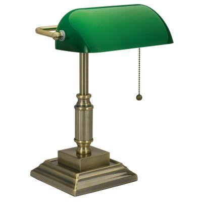 14.8 in. Brass Indoor Bankers Lamp with LED Bulb