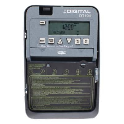 DT Series 2-Circuit 20 Amp 24 Hour Indoor Surface Mount Timer with Battery Backup, Gray